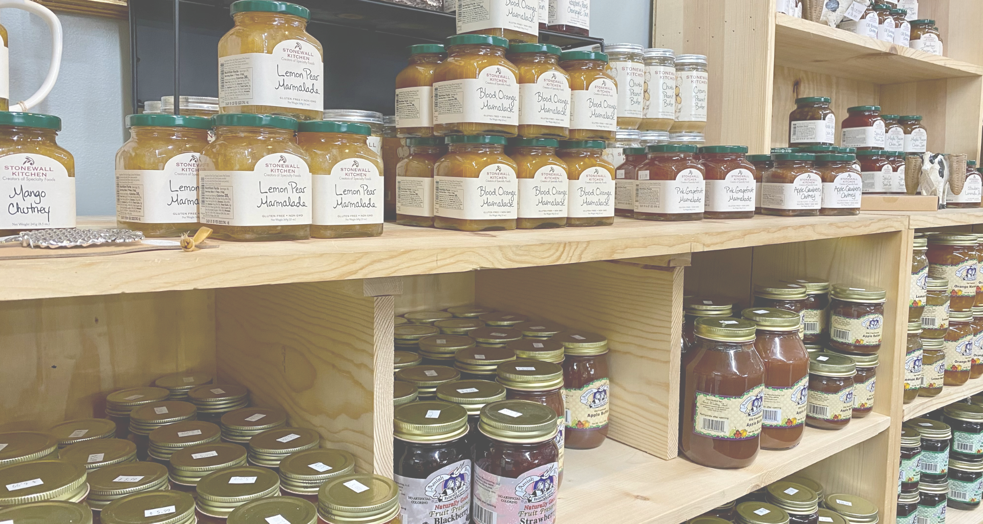 Marmalade jars on shelves